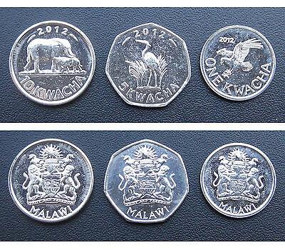 Malawi coins set of 3 pieces 2012 UNC