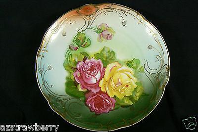 "19th Antique Germany CARL TIELSCH & CO / C.T. Porcelain Plate Rosses Floral 12"""