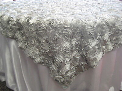 72 X 72 SILVER satin ribbon rosette overlay Wedding Cake table EXQUISITE