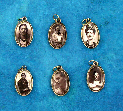 SET OF 6 -Black and White Images- MEXICAN FRIDA KAHLO SILVER CHARMS/MILAGRO ART!