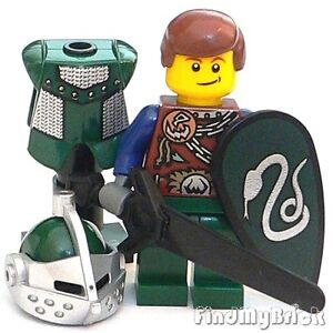 C320-Lego-Castle-Slytherin-Knight-Minifigure-with-Armour-Stand-amp-Weapons-NEW