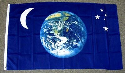 EARTH MOON & STARS FLAG 3X5 FEET PLANET WORLD ASTRONOMY UNIVERSE NEW F432