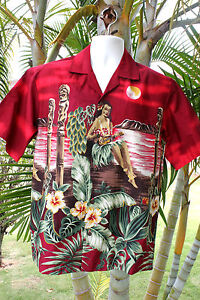 NEW-Red-Wahine-Playing-Ukulele-Sunset-Men-Hawaiian-Aloha-Shirt-MADE-IN-HAWAII