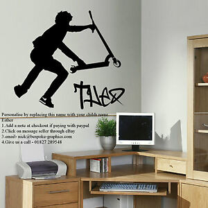 LARGE-PERSONALISED-STUNT-SCOOTER-BEDROOM-WALL-TRANSFER-ART-STICKER-STENCIL-DECAL