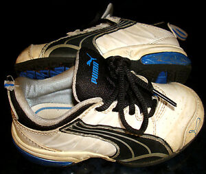 Size 8 Boys PUMA Cell SNEAKERS Shoes White Blue ...