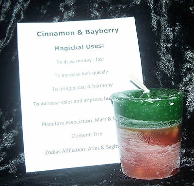 CINNAMON BAYBERRY CRYSTAL JOURNEY Candles Manifestation FAST LUCK & MONEY magick