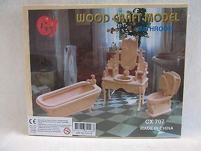 Puppenstube Möbel Puppenmöbel Holzbausatz  3D Puzzle  NEUWARE  Badezimmer