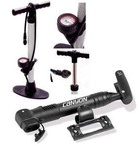 CYCLE-BIKE-BICYCLE-TRACK-PUMP-FLOOR-PUMP-amp-FREE-MINI-PUMP-BOTH-DUAL-HEAD-FITTING