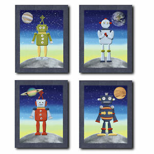 Outer space robots wall art for nursery children kids for Outer space childrens decor