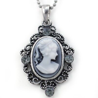 Small Cute Light Gray White Cameo Pendant Necklace Charm Antique Silver Tone e2