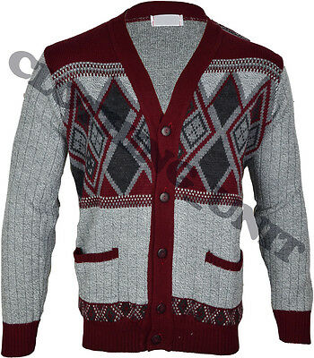 Mens Classic Button Cardigan Argyle Grandad  S-5XL