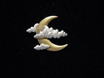 """JJ"" Jonette Jewelry Silver & Gold Pewter 'Moon and Clouds' Tac Pin"