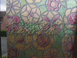 RED-GREEN-CIRCLES-STAINED-GLASS-WINDOW-STICKY-BACK-PLASTIC-VINYL-FILM-SELF-ADSVE