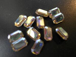 Swarovski-vintage-12-cristaux-rectangle-a-sertir-4x6mm-crystal-ab