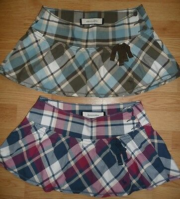 Lot 2 Abercrombie Designer Stretch Pleated plaid skirts Girls Size 16 Worn Once