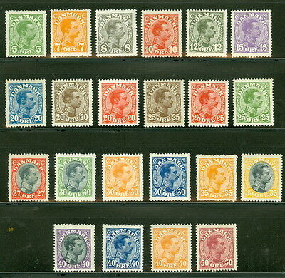 DENMARK #97/120, Chr. X set of lower values complete except for #'s 107, 117 NH
