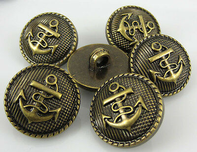 "100Pcs 5/8"" Gold Tone Anchor Buttons Plastic Cabochon Buttons Fit Sewing 15.0mm"