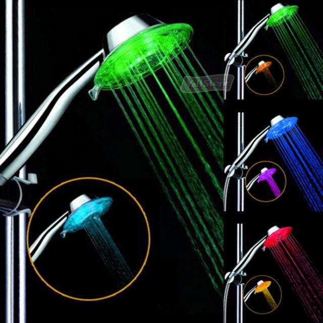 Magic Bathroom Water Saving Glow Power 7 Colors LED Light Round Shower Head