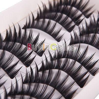 Hot Fashion 10 Pairs Thick Black False Fake Eyelash Eye Lash Makeup #H3 HF