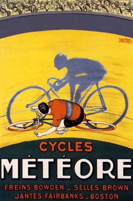 BOSTON BIKE RIDING BICYCLE RACE CYCLES METEORE PNEUS SPORT VINTAGE POSTER REPRO