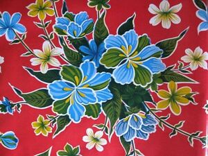 RED-HAWAIIAN-HIBISCUS-FLORAL-LUAU-KITCHEN-DINE-OILCLOTH-VINYL-TABLECLOTH-48x84