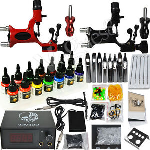 Tattoo-kit-2-Machines-Gun-14-color-Inks-Power-supply-needles-Equipment-Set-D279