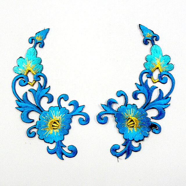 I0605 x1Pair (2pcs) Blue Flower Floral Retro Iron On Patch Embroidered Appliques