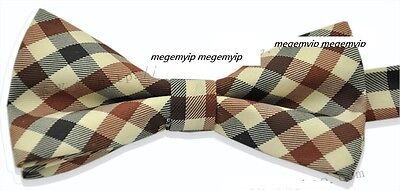 Rare Vintage Old School Check Pattern Cotton Wedding Brown Pretie Bowtie Tie