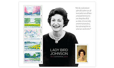 2012 IMPERF Lady Bird Johnson Sheet of 6 From Uncut Press Sheet (Imperforate)