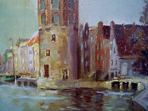 Knikker-signed-Amsterdam-Canal-Dutch-Oil-Painting-c1920-water-city-scape-estate
