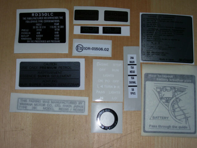 Yamaha RD 250 350 YPVS 31K  Warning Feature decal Kit