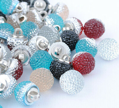 E358 New! 12mm Fancy Plastic Ball button sewing craft appliques Lots Upick