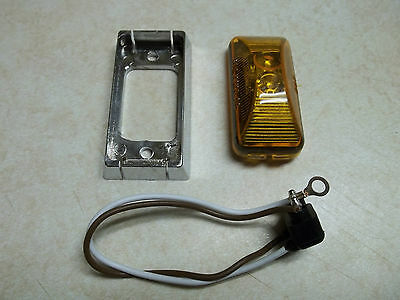 (1) AMBER LED SURFACE MOUNT MARKER CLEARANCE LIGHT / CHROME BASE TRAILER CAMPER