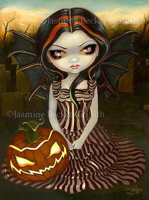 Jasmine Becket-Griffith art print SIGNED Halloween Twilight pumpkin autumn fairy