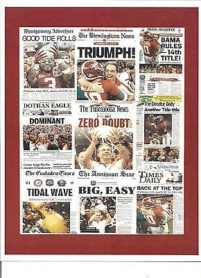 ALABAMA CRIMSON TIDE 2012 BCS CHAMPION MATTED FRONT PAGES OF NEWSPAPERS COLLAGE