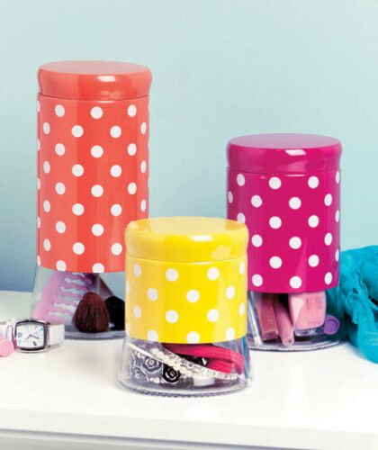 Fun Colorful Vintage Red Polka Dot Glass Canister Set White /& Red Bathroom Decor