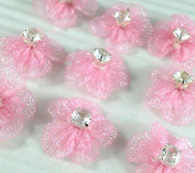 Cute Flower w/ Rhinestone Appliques x 50 pink-DIY Bow/Hair