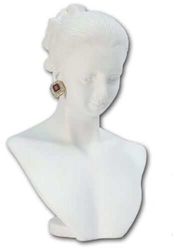 WHITE Poly-Resin Necklace Earring Combination Countertop Display Figurine Bust