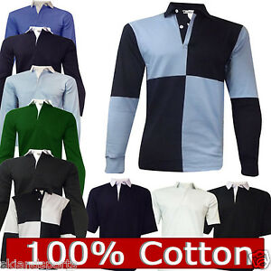 Rugby-Shirt-Mens-100-Cotton-Size-S-to-5XL-Plain-or-Harlequin-New-Superb-Quality