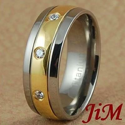 8MM Titanium Engagement Ring 14K Gold Wedding Band Diamond Jewelry Size 6-13