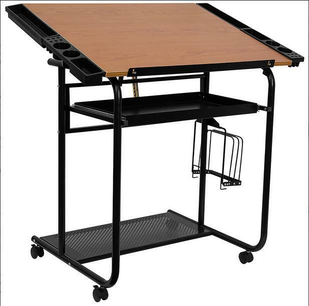 NEW ADJUSTABLE DRAWING AND DRAFTING TABLE WITH BLACK FRAME AND DUAL WHEEL CASTER