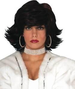 Hip Hop Wig Black Burgundy Flip Short Dress Up Halloween Adult Costume Accessory