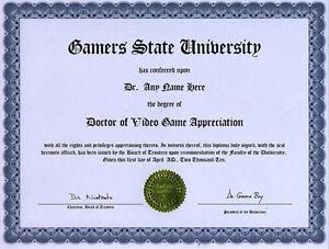 doctor video game appreciation diploma  image is loading doctor video game appreciation diploma