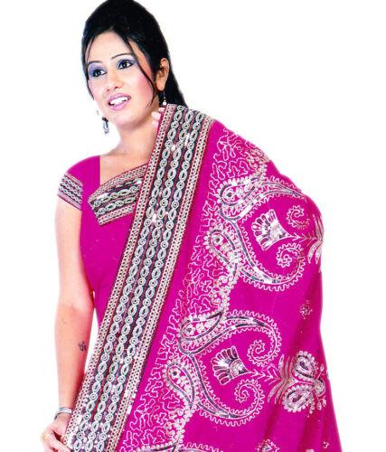 Rose Fonce Bollywood Sequin Bridal Indien Sari Saree Robe Kaftan Ventre Danse