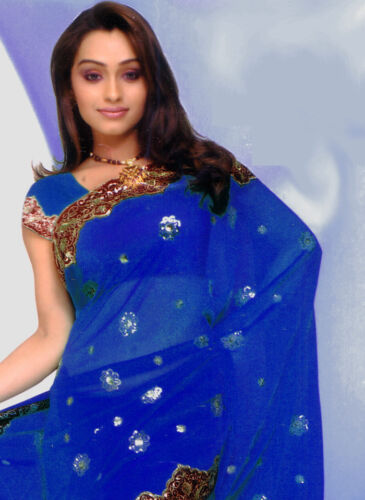 Bleu Royal Bollywood Sequin Bridal Indien Sari Saree Robe Kaftan Ventre Danse