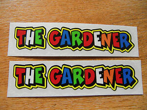 Valentino-Rossi-style-text-034-THE-GARDENER-034-x2-stickers-decals-5in-x-1in