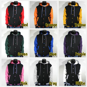Men-039-s-New-Letterman-Hoodie-Baseball-Varsity-Jacket-Black-S-M-L-XL-2XL-3XL-4XL