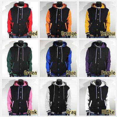 Men's New Letterman Hoodie Baseball Varsity Jacket Black S M L XL 2XL 3XL 4XL