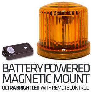 Magnetic Led Emergency Warning Lights >> Battery Powered LED Magnetic Beacon & Remote - Hazard - Amber Recovery Flashing | eBay