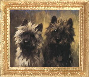 CAIRN TERRIERS Dollhouse Picture - Framed Miniature Dog Art - MADE IN AMERICA